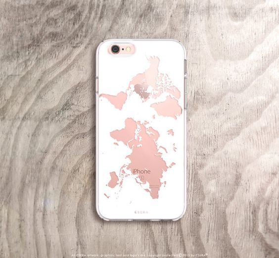 World map iPhone case in white on rose gold iPhone 6s case Etsy listing at https://www.etsy.com/uk/listing/268065879/world-map-iphone-6s-case-marble-iphone