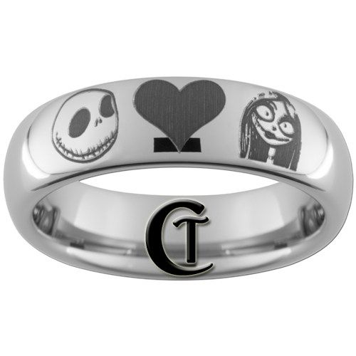 ***DO NOT PURCHASE UNTIL YOU READ BELOW***  This 6mm Tungsten Carbide comfort fit ring is all polished with a black lasered Jack and Sally design. This is a ring you will be proud to wear for many yea