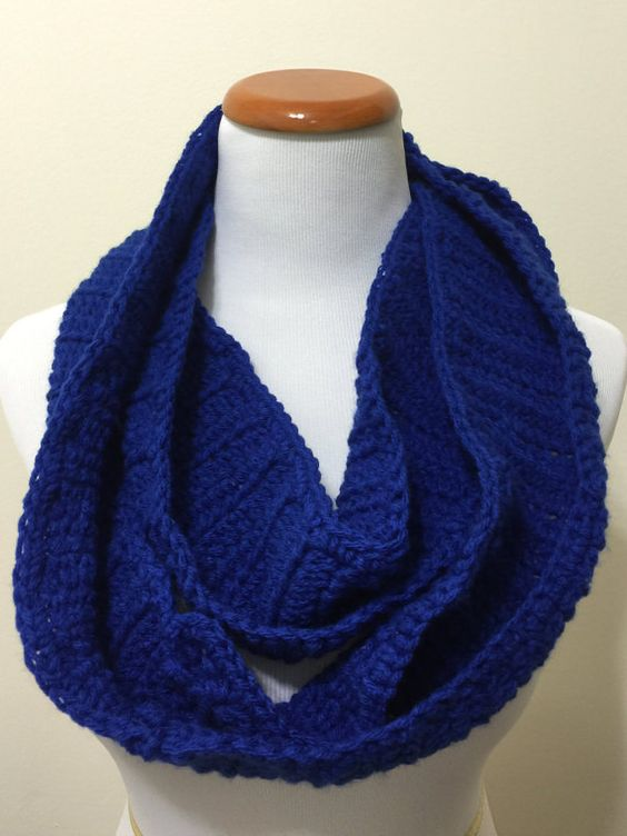 Made To Order: Royal Blue Crocheted Infinity by StitchandCrochet