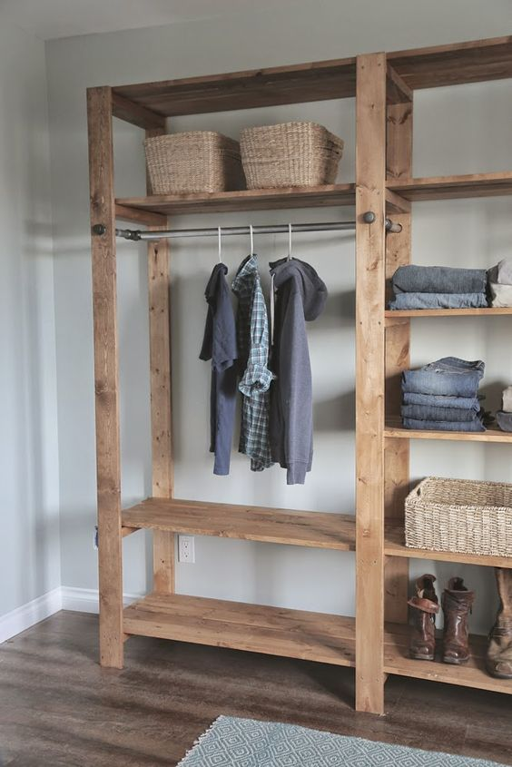 Ana White   Build A Industrial Style Wood Slat Closet System With  Galvanized Pipes   Free And Easy DIY Project And Furniture Plans   Closet    Pinterest ...
