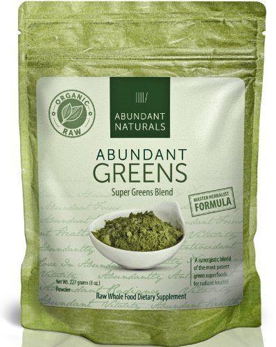 Raw ORGANIC Green Superfood Powder - Premium Super Greens Supplement - 38 Servings - Boost Energy & Vitality - Pleasant & Refreshing - Abundant Vitamins, Minerals, Antioxidants, Pre & Probiotics - Exclusive to Amazon Abundant Naturals http://www.amazon.com/dp/B00J5VN5OS/ref=cm_sw_r_pi_dp_a9O3ub1G64M05