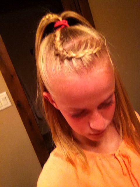 Dutch braid into high ponytail