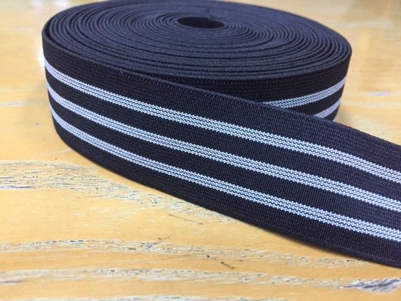 Black & Gray Striped Elastic, 1.2 in wide - 3 cm wide by NoaElastics on Etsy