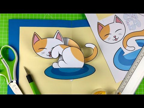 5 Pop Up Kitten Pop Up Card Tutorial With Free Template Download Link In Description Youtube Pop Up Card Templates Card Tutorial Card Templates