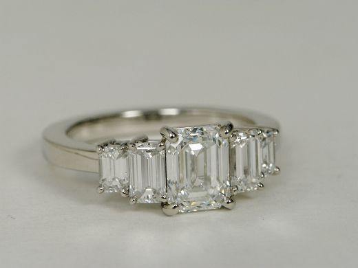 Four Stone Emerald Diamond Engagement Ring in Platinum $15,035.00
