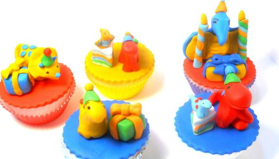 Fondant Cupcake ToppersPremium Party Dinosaurs by AmazeWithCakes