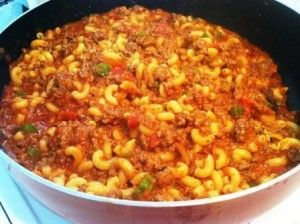 QUICK AND EASY SKILLET GOULASH. Everything, including the pasta, cooks in one pot.  You don't need to buy fancy spaghetti sauce - just use a can of tomato sauce.  Add some other veggies to bulk it up and make it healthful.  We like zucchini!