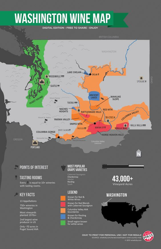 Washington Wine Map by Wine Folly. For my friends thinking of visiting Washington