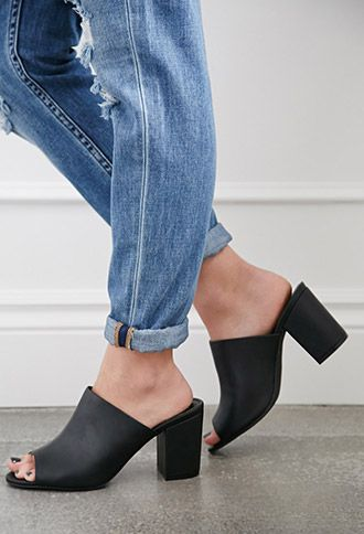 Faux Leather Peep-Toe Mules | Forever 21