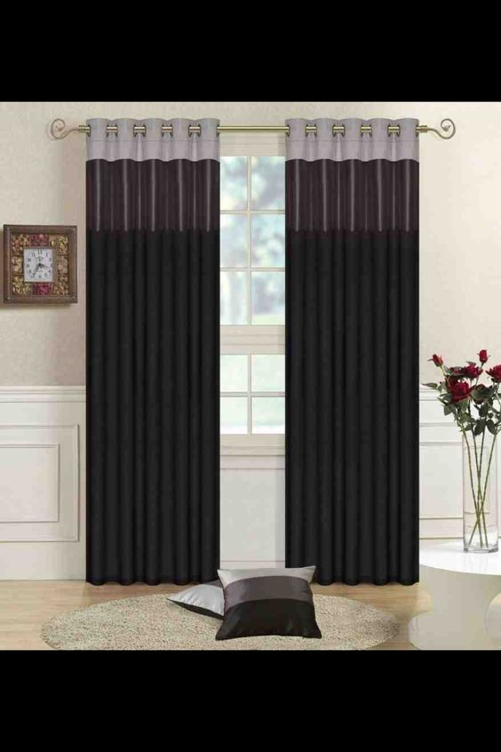 Living room curtains idea black grey silver for the home - Black and gold living room curtains ...