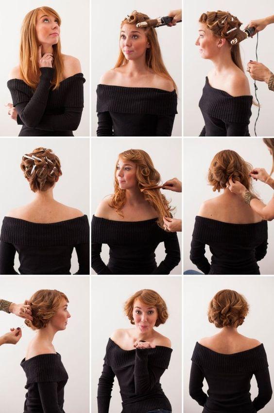 rockabilly retro frisur selber machen anleitung pin-up curls