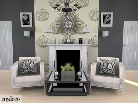Grey room wallpaper feature wall with white fireplace - Feature walls in living rooms ideas ...