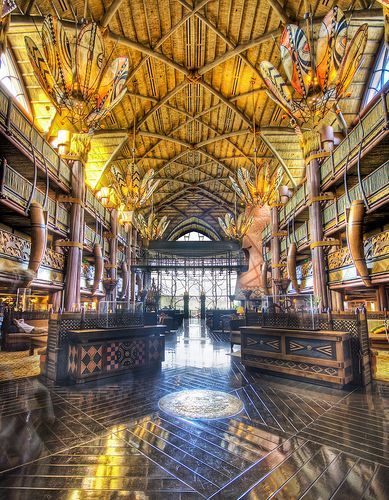 This is where me and James stayed on our first Disney trip!! Coolest hotel ever! Best part? Watching girraffes from your hotel room! Animal Kingdom Lodge Lobby
