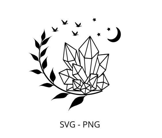 Crystal Svg Clipart Cricut Shirt Svg Printable Png Vector Etsy In 2021 Crystal Drawing Crystal Illustration Crystals Art Drawing