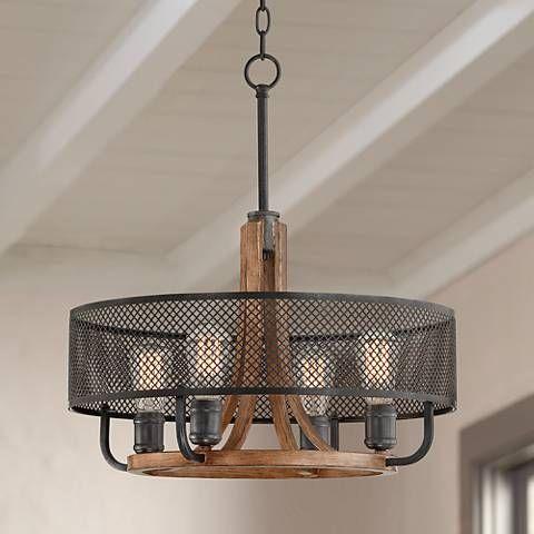 Halvor 20 Wide Black Mesh And Wood 4 Light Pendant 46h00 Lamps Plus Pendant Lighting 3 Light Pendant Lamps Plus