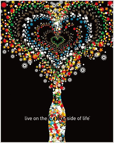 Great coke ad with Black white and pops of color.And I love hearts.