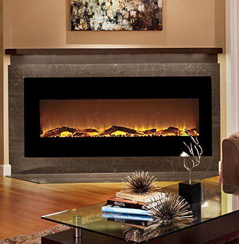 Moda Flame Houston 50 Inch Electric Wall Mounted Fireplace Black Moda Flame