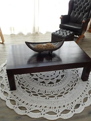 giant doily rug with 10 mm upholstery piping