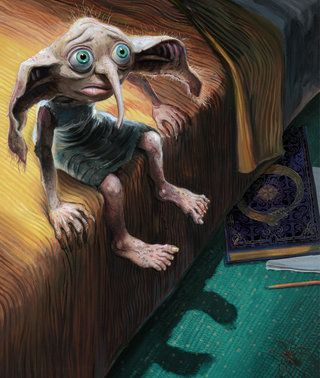 Jim Kay's illustration of Dobby the house-elf from Harry Potter and the Chamber of Secrets Illustrated Edition