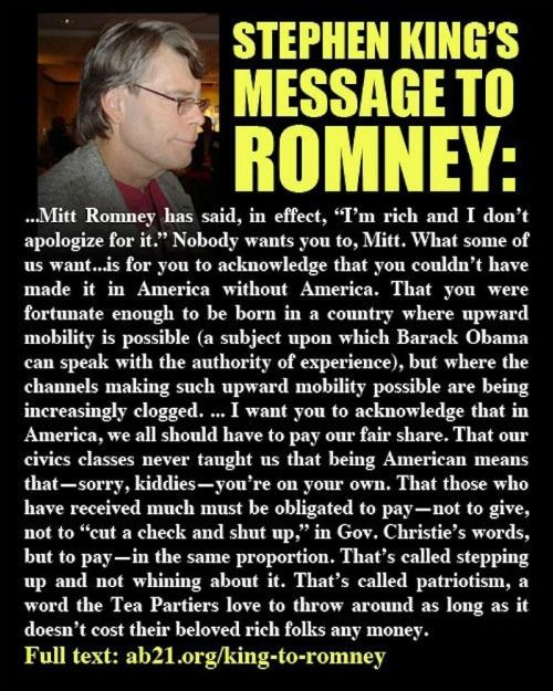Stephen King's message to Romney.