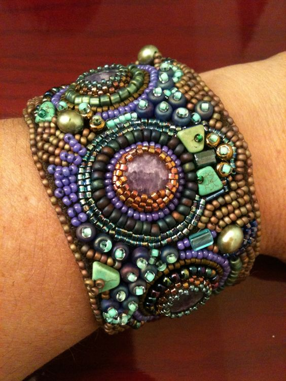 Bead embroidery.  My very 1st cuff bracelet. By Karen Lee