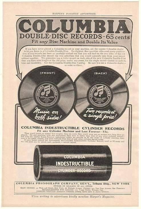 Columbia Indestructible Cylinder Records Vintage