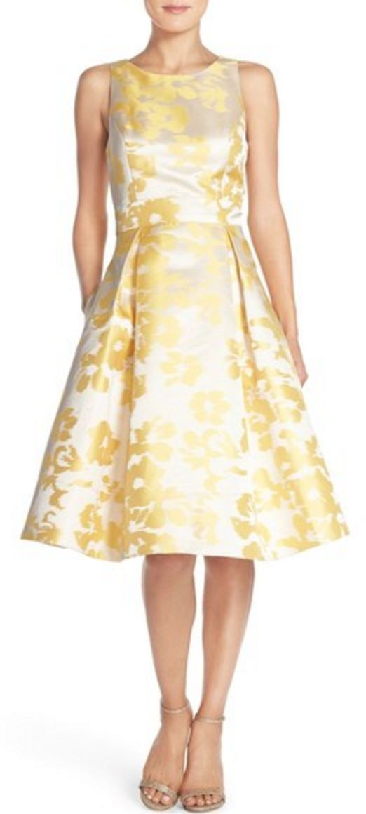 Yellow Jacquard Midi-Dress