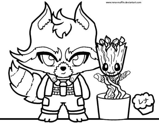 Rocket And Groot Coloring Sheet By Rena Muffin D88kyqa Jpg Cf Jpg