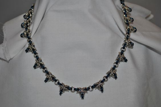 A personal favorite from my Etsy shop https://www.etsy.com/listing/163605836/triple-point-byzantine-necklace