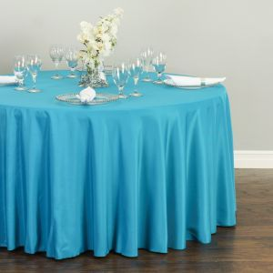 Basic Polyester 60 X 120 Oblong Tablecloth In Caribbean Blue