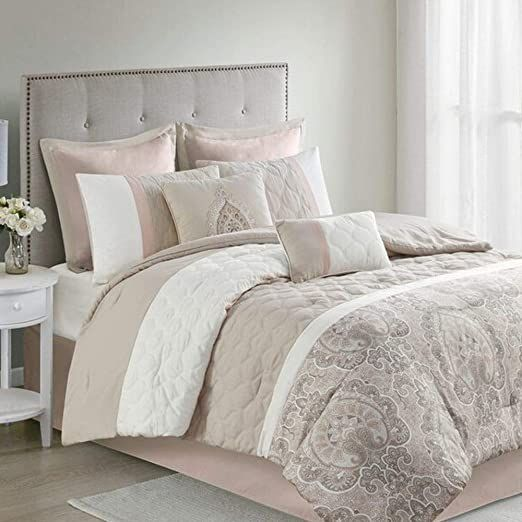 Hnu 8 Piece Modern Blush Comforter Set King Size Allover Diamond Quilted Pieced Color Block Partial Prin In 2020 Luxury Bedroom Decor Luxurious Bedrooms Comforter Sets