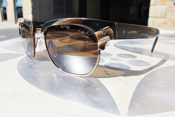 Lanvin Clubmaster Style Sunglasses in Brown Horn Shiny Havana. Now £78 (Was £260)