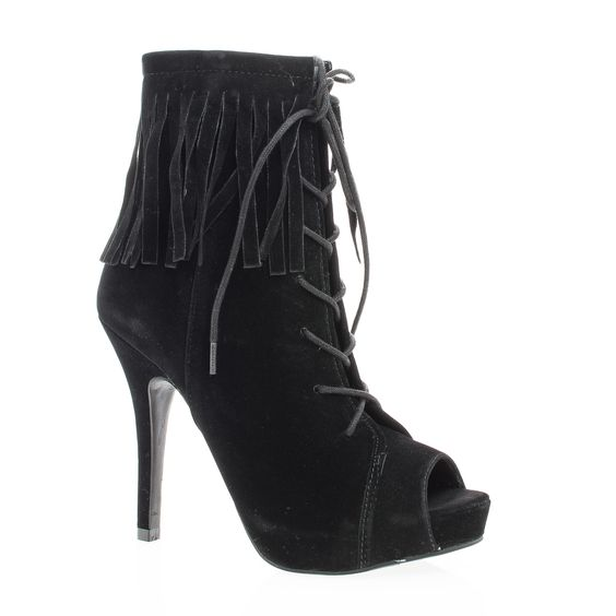 Verdict88 Peep Toe Corset Lace Up Ankle Cuff Fringe Stiletto Booties