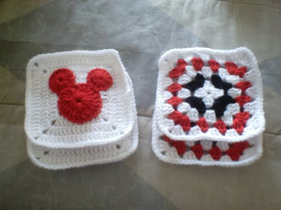 Mickey Mouse Crochet Baby Blanket Pattern : Circles, Square patterns and Blankets on Pinterest