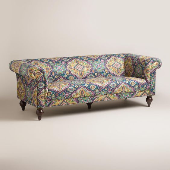 Our vintageinspired sofa is upholstered in 100 polyester fabric
