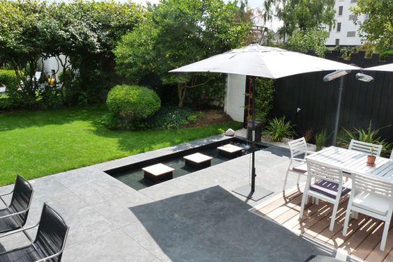 Un jardin contemporain pur avec terrasses jardins de for Jardin moderne epure