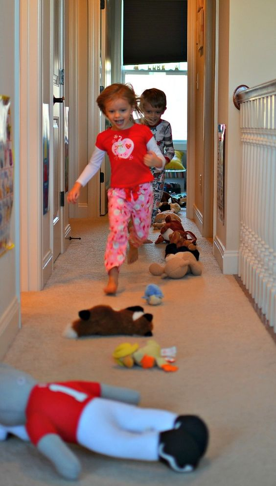 Stuffed animal run a fun indoor gross motor activity for Indoor gross motor activities