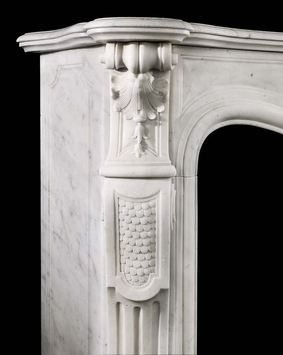 Antique statuary Louis XV chimneypiece.