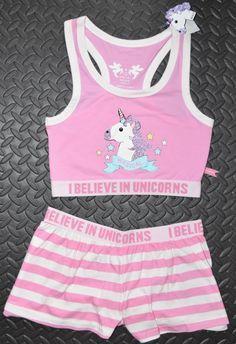 Primark Unicorn Crop Vest Shorts Set Pj Pyjamas Emoji I Believe