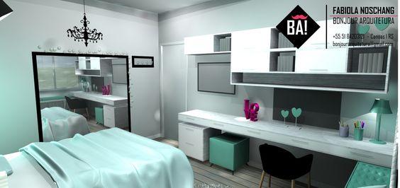 Projeto de Quarto feminino, Dormitório com papel de parede  ~ Quarto Verde Agua