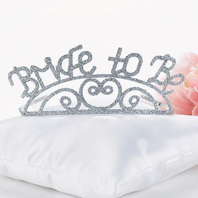 "Bride to Be Tiara- Sparkling ""Bride To Be"", silver-tone tiara has a heart and swirl design and two attached combs for a secure fit. Great for bachelorette parties and bridal showers! #WeddingDresses #WeddingRings #WeddingGifts #Wedding #WeddingIdeas"