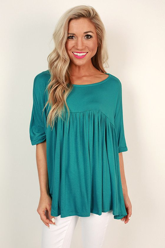 Ruffle With It Babydoll Tee in Turquoise