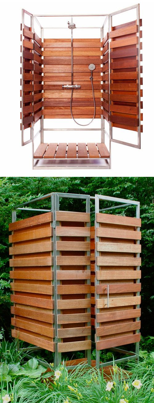 Prefab outdoor shower / oborain. Can be set up anywhere outside for temporary or permanent use and it easily assembles in 30 minutes. Made from sustainable hardwoods.