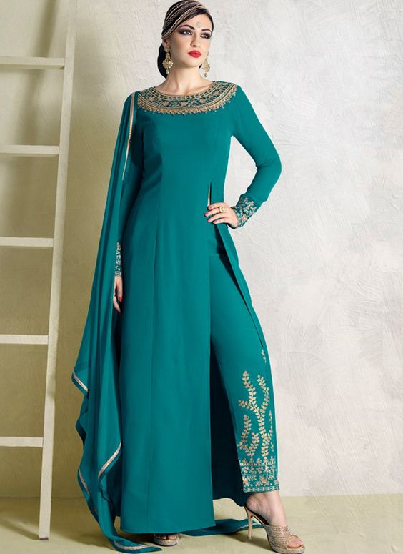 Turquoise and Gold Embroidered Pant Style Anarkali