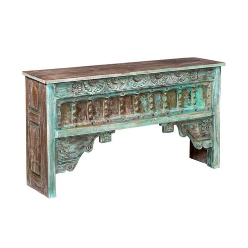 65 Inch Wide White Green Rustic Console Table Rustic Consoles