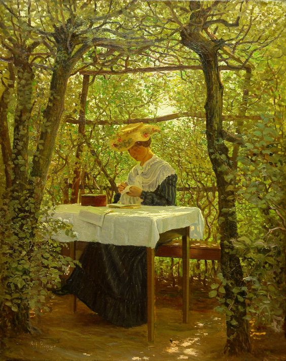 Young Woman with Embroidery the Garden ~ Karl Harald Alfred Broge ~ (Danish, 1870-1955):