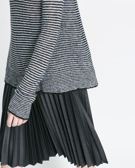 grey stripes sleeve sweater pleated knee length