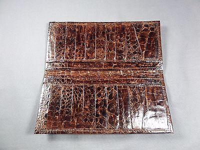 New Genuine Brown Alligator Premium Skin  Check/Card or Breast Pocket Wallet 13