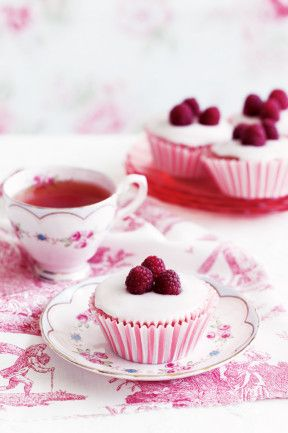 Raspberry cupcakes with rosewater icing.