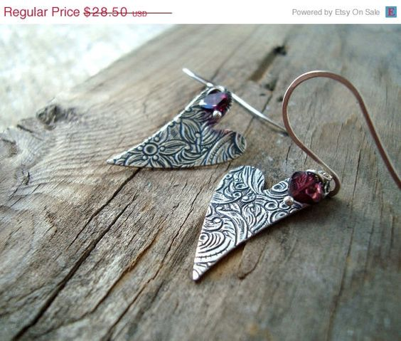 ON SALE Garnet Heart Earrings Valentine by FuchsiaBloomStudio, $25.20